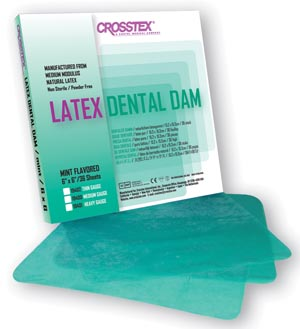 "Crosstex 19400 Dental Dam Medium Green  6 x 6"" Mint 36 sheets/bx"