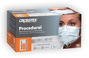 Crosstex GCPBL Mask Blue Latex Free (LF) 50/bx 10 bx/ctn
