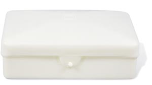 Dukal SB01 Soap Box Plastic with Hinged Lid Ivory Holds Up to #5 Bar 1/pk 100/cs