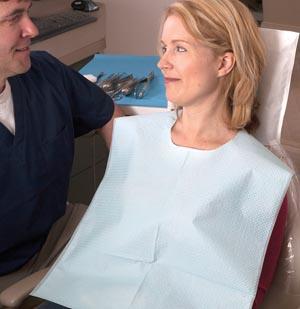 "Bib, Oral Surgery, X-Large, T/P/T, 29"" x 42"", Blue, 50/cs"
