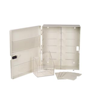 "Station, Wall Mountable, Contains: (4) Adjustable Shelves, (2) Door Pockets, Storage Bin, Ambu Bag Shelf (does not include glove dispenser), 20-1/2"" x 6  3/4"" x 17  3/4"", 1/cs"