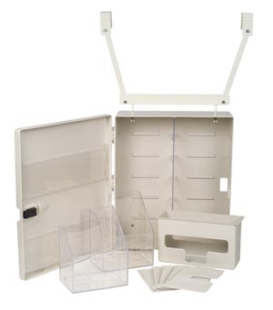 "Isolation Station, Door Mountable, Contains: (4) Adjustable Shelves, (2) Door Pockets, (2) Storage Bins, Ambu Bag Shelf, Glove Dispenser (#8562), 20-1/2"" x 6  3/4"" x 17  3/4"", 1/cs"