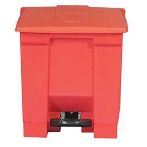 Bunzl 17700054 6143 Step-on Waste Container 8 Gallon Red