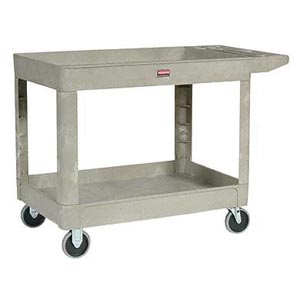 Bunzl 17702089 4520-88 Trademaster 2-Shelf Utility Cart Beige