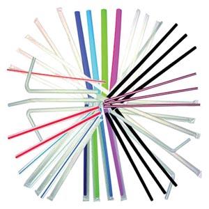 Bunzl 76009704 White Flex Jumbo Straws 7 3/4 Wrapped 400/slv 25 slv/cs