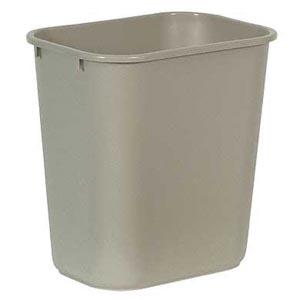 Bunzl 177008231 2956 Wastebasket Rectangular 28 Qt Beige