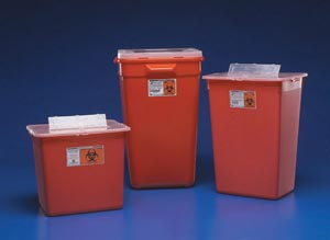 "Cardinal Health 31156550 Container 7 Gal Red Split Lid Sharps Port Large Volume 14H x 12""D x 15½""W 10/cs"