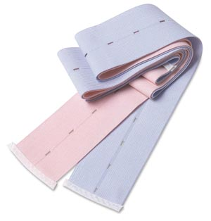 "Cardinal Health 30950169 Tab Abdominal Belt Woven Elastic 1½ x 40"" 1 Pink Striped and 1 Blue Striped Belt Per Set 100 sets/cs"