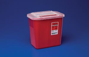 "Cardinal Health 31143699 Container 1 Gal Red Clear Sliding Lid 4.8H x 7¼""D x 8½""W"""