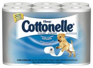 Cottonelle Ultra Soft Bath Tissue, White, 12/pk, 4 pk/cs