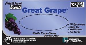 IHC 196050 Gloves Exam X-Small Nitrile Non-Sterile PF Textured Grape Scent 100/bx 10 bx/cs