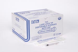 Exel 26049 Tuberculin Syringe Only 1cc Low Dead Space Plunger Luer Lock with Cap 100/bx 10 bx/cs
