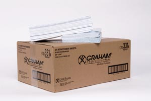 "Graham Medical 331 Stretcher Sheet Scrim-Reinforced White/ Blue 40 x 96"" 25/cs"