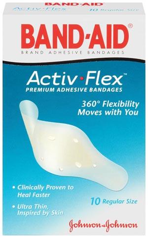 "J&J 4414 Adhesive Bandage Activ-Flex Regular ¾ x 3"" 10/bx 24/cs"