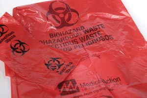 "Hamper Bags, 11"" x 14  1/4"", 1.25 mil, Red, ""Biohazardous Waste"", 20/rl, 10 rl/cs"