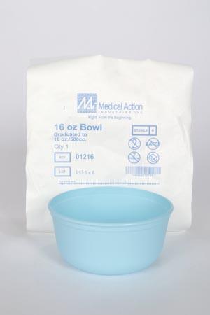 Utility Bowl, 16 oz, Sterile, Individually Wrapped, Turquoise, 75/cs