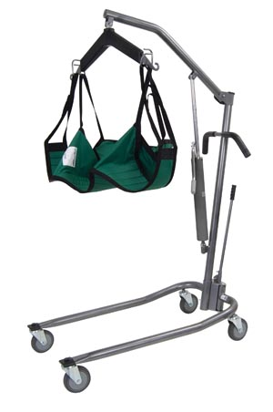 DeVilbiss 13023SV Standard Hydraulic Patient Lift with 6-Point Cradle & Silver Vein
