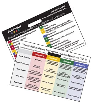 """Bowman RG-006 Transmission Based Precautions Quick Reference Card Horizontal Attaches to Name Tag Holder 3 3/8W x 2 1/4""""H x 1/16""""D 25/pk (Made in USA)"""