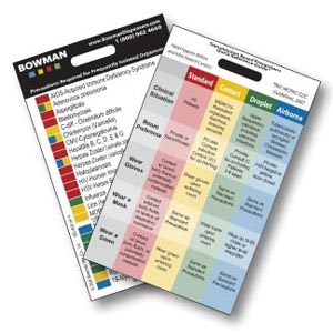 """Bowman RG-008 Transmission Based Precautions Quick Reference Card Vertical Attaches to Name Tag Holder 2 1/4W x 3 3/8""""H x 1/16""""D 25/pk (Made in USA)"""