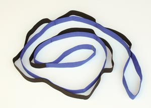 """Stretching Aid, 5 ft 7"""" Long, Blue Webbing with Black Elastic Stretch Strap, Clear Poly Ziplock Bag"""