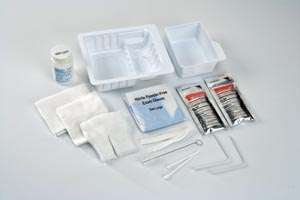 "Cardinal Health 47800 Standard Trach Care Tray Removable Basin Includes: (2) Blue Nitrile Gloves Trach Brush Drape 36 Twill Tape (2) Cotton Tipped Applicators (2) Pipe Cleaners (4) 4"" x 4"" Gauze Sponges 20/cs"