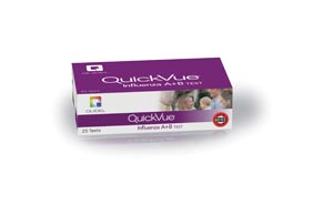 Quidel 20183 QuickVue Influenza A+B Test, Dipstick Format, Identifies Type A, Type B, or Both, Two-Color Endpoint, CLIA Waived, 25 test/kit