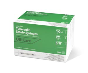 "Safety Syringe, Fixed Needle, Tuberculin, 1mL, 27G x 5/8"", 100/bx"