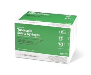 "Safety Syringe, Fixed Needle, Tuberculin, 1mL, 27G x -1/2"", 100/bx"