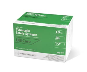 "Safety Syringe, Fixed Needle, Tuberculin, 1mL, 28G x -1/2"", 100/bx"