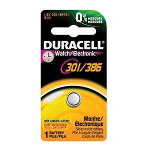 Battery, Silver Oxide, Size 301/386, 1.5V, 6/cs (UPC# 66127)