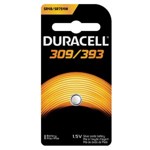 Battery, Silver Oxide, Size 309/393, 1.5V, 6/cs (UPC# 66130)