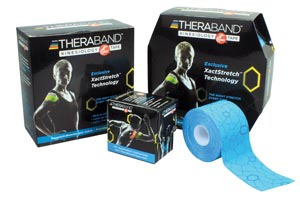Theraband 12739 Kinesiology Tape Bulk Continuous Roll Large Dispenser Box 2 x 103.3ft Black/ Black Print Latex-Free 6/cs
