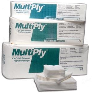 """MultiPly Non-Woven Rayon/ Poly Sponge, 2"""" x 2"""", 8-Ply, Non-Sterile, 100/slv, 30 slv/cs"""