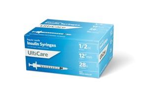 "Insulin Syringe, 1/2cc, 28G x -1/2"", 100/bx"