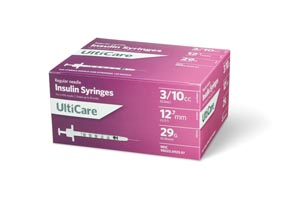 "Insulin Syringe, 3/10cc, 29G x -1/2"", 100/bx"