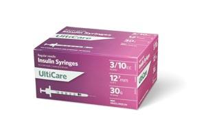 "Insulin Syringe, 3/10cc, 30G x -1/2"", 100/bx"