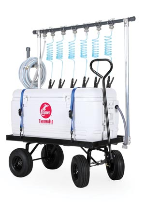 ThermoFlo Max Hydration Unit, Insulated Cooler w/ 30-Gallon (120 Qt) Ice Capacity, 6 Drinking Stations