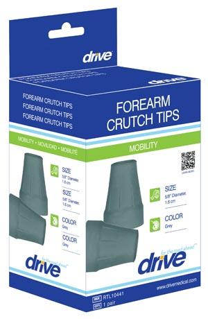 DeVilbiss RTL10441 Crutch/Cane Tips Replacement 5/8 Diameter Grey 1pr/bx 8bx/cs