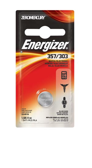 Energizer 357BPZ Battery Silver Oxide 1.5V MAH: 175 (Watch Battery - EVEREADY) 6/pk 12 pk/cs