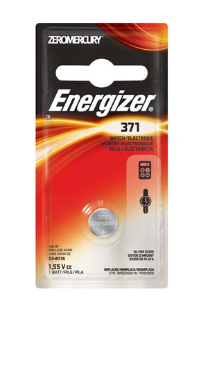 Energizer 371BPZ Battery Silver Oxide 1.5V MAH: N/A  (Watch Battery) 6/pk 12 pk/cs
