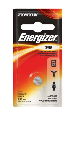 Energizer 392BPZ Battery Silver Oxide 1.5V MAH: 42 (Watch Battery) 6/pk 12 pk/cs