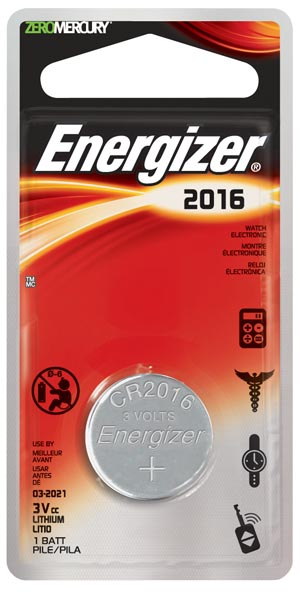 Energizer ECR2016BP Watch Battery 3V 1 Blister Card 6 card/bx