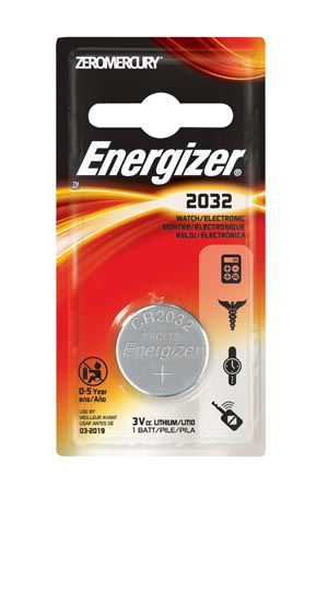 Energizer ECR2032BP Battery Lithium 3V Miniature Coin 1/blister card 6 cards/bx