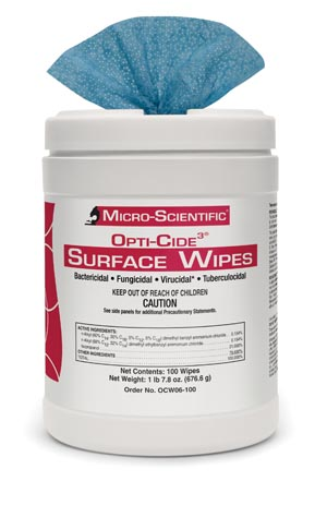 "Surface Wipes OPTI-CIDE3, 7"" x 10"", 100/can, 6 can/cs"