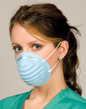 "Molded Face Mask, ""Breathe E-Z"" Blue, 50/bx, 10 bx/cs"