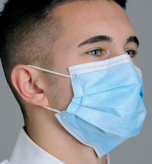 """Breathe E-Z"" Pleated Face Mask, Blue, 50/bx, 10 bx/cs"
