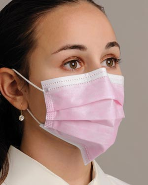 """Breathe E-Z"" Pleated Face Mask, Pink, 50/bx, 10 bx/cs"