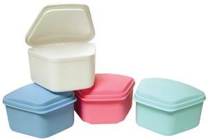 """Denture Box, 3"""" x 2.5"""" x 2"""" Deep, 4 Assorted Colors (Blue, White, Mauve, Beige), 12/bg"""