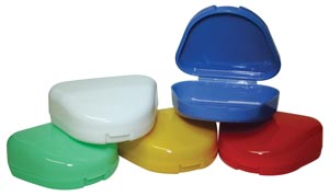 "Retainer Box, 3"" x 2.5"" x 1"" Deep, 4 Assorted Colors (Blue, White, Red, Yellow), 12/bg"