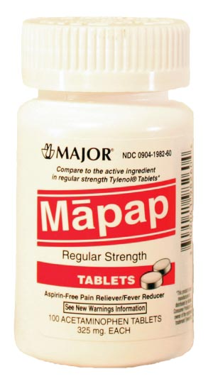 Mapap, 325mg, Unboxed, 100s, Compare to Tylenol, NDC# 00904-1982-60